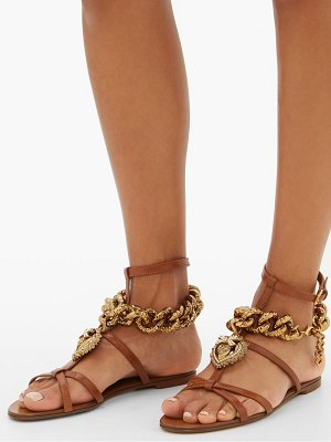 Dolce & Gabbana devotion heart and chain leather sandals