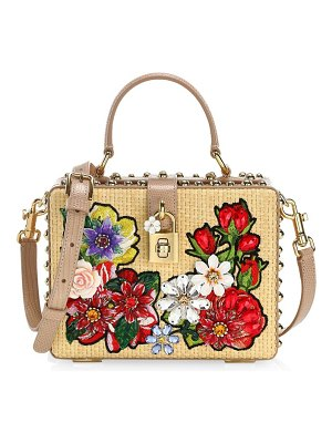 Dolce & Gabbana dolce box floral raffia top handle bag