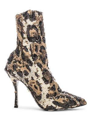 Dolce & Gabbana leo print stretch sequin booties
