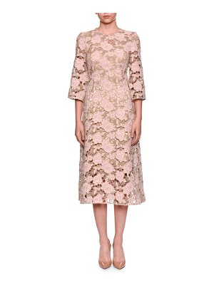 DOLCE & GABBANA Elbow-Sleeve Macrame Lace Dress