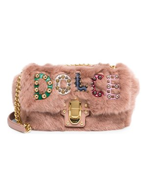 Dolce & Gabbana faux fur logo shoulder bag