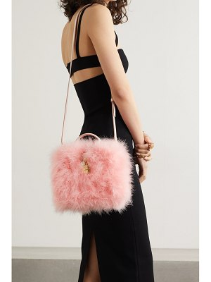 Dolce & Gabbana feather-trimmed leather tote