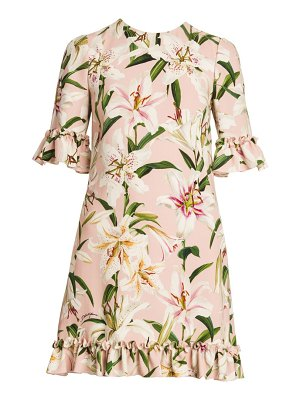 Dolce & Gabbana floral print ruffle trim dress