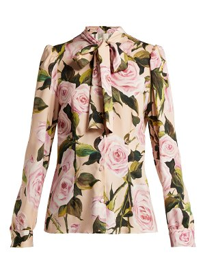 Dolce & Gabbana Floral Print Silk Charmeuse Pussy Bow Blouse