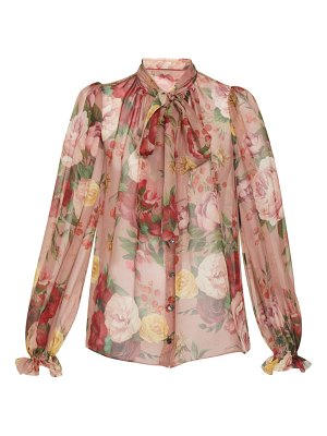 Dolce & Gabbana floral pussy bow silk blouse