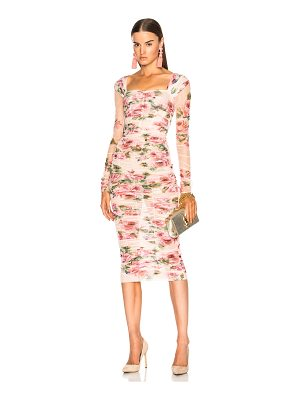 DOLCE & GABBANA Floral Tulle Long Sleeve Midi Dress