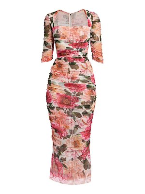 Dolce & Gabbana floral tulle ruched midi dress