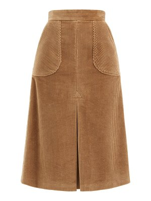 Dolce & Gabbana inverted-pleated cotton-blend corduroy midi skirt