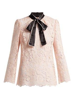 Dolce & Gabbana lace satin neck tie blouse