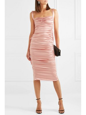 Dolce & Gabbana lace-up ruched stretch-silk satin midi dress