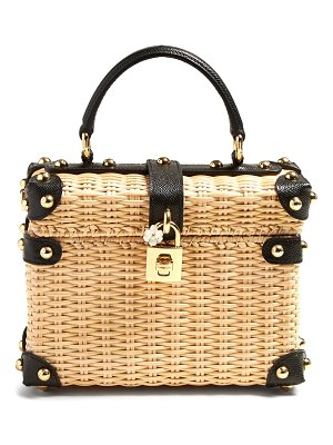 Dolce & Gabbana Leather-trimmed wicker basket bag