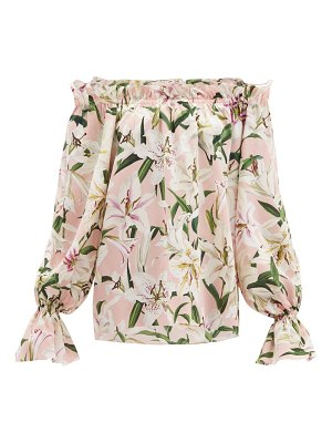 Dolce & Gabbana lily print off the shoulder silk top
