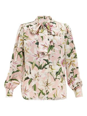 Dolce & Gabbana lily print pussy bow silk crepe blouse