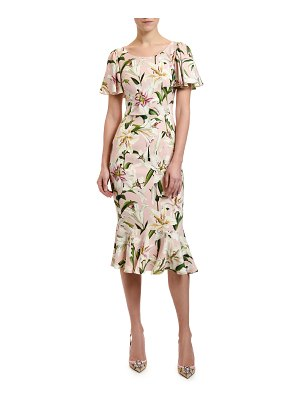 Dolce & Gabbana Lily Print Flutter Sleeve Bodycon Dress