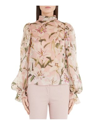 Dolce & Gabbana lily print organza puff sleeve blouse