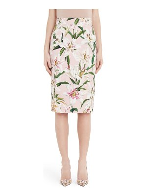 Dolce & Gabbana lily print pencil skirt
