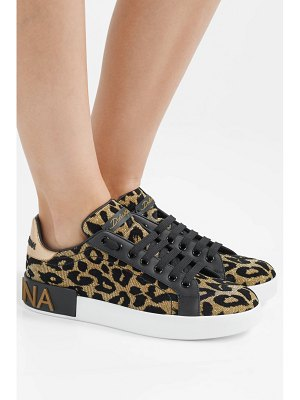 Dolce & Gabbana logo-embellished flocked textured-lamé and leather sneakers