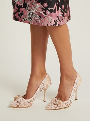 Dolce & Gabbana Lori crystal-embellished lace pumps
