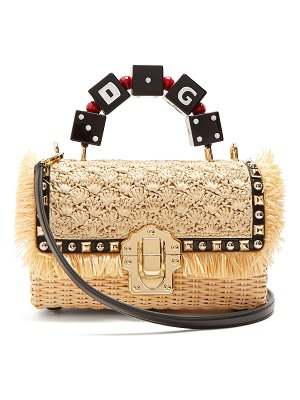 Dolce & Gabbana lucia stud embellished wicker basket bag
