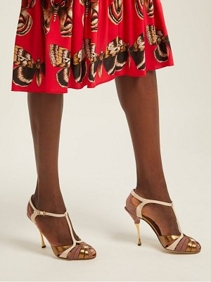 Dolce & Gabbana Metallic Leather And Suede T Bar Sandals