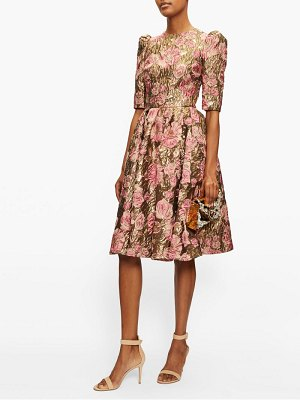 Dolce & Gabbana metallic rose-jacquard dress