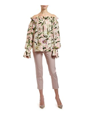 Dolce & Gabbana Off-the-Shoulder Lily Crepe de Chine Blouse