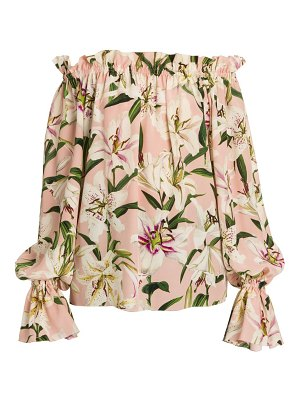 Dolce & Gabbana off-the-shoulder lily print silk blouse