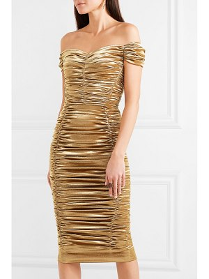Dolce & Gabbana off-the-shoulder ruched silk-blend lurex midi dress