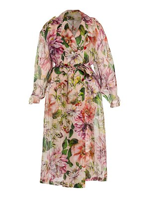 Dolce & Gabbana organza floral-print trench coat