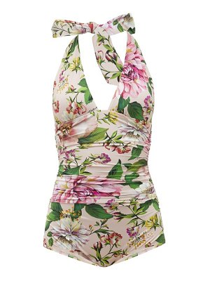 Dolce & Gabbana halterneck ruched peony-print swimsuit