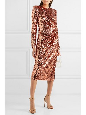 Dolce & Gabbana ruched sequined tulle midi dress
