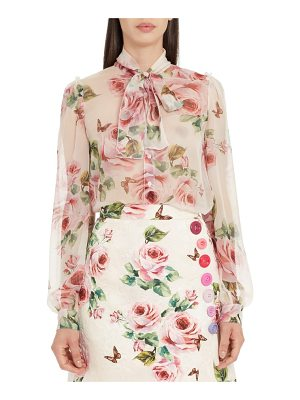 DOLCE & GABBANA Sheer Rose Print Silk Blouse