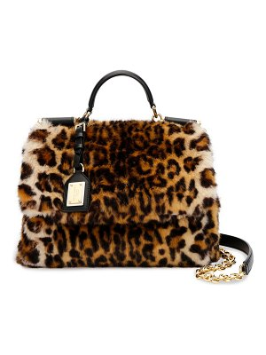 Dolce & Gabbana Sicily Medium Leo Pellicciotto Faux-Fur Satchel Bag
