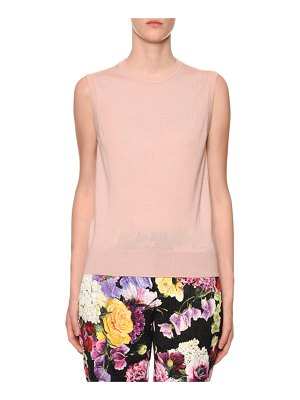 Dolce & Gabbana Sleeveless Crewneck Cashmere-Silk Shell Top