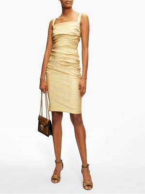 Dolce & Gabbana square-neck ruched silk-blend lamé dress