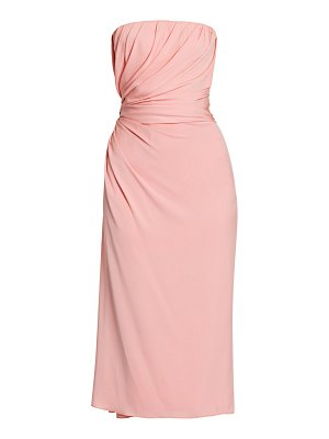 Dolce & Gabbana strapless draped charmeuse midi dress