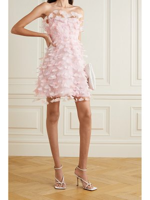 Dolce & Gabbana strapless feather-embellished silk-tulle mini dress