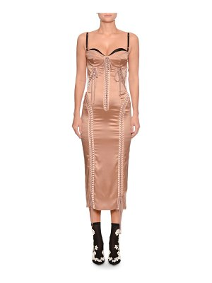 Dolce & Gabbana Sweetheart-Neck Bustier Satin Lace-Up Cocktail Dress