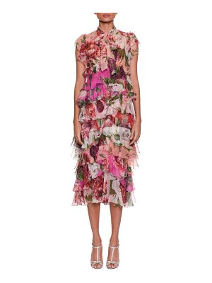Dolce & Gabbana Tie-Neck Rose & Peony Print Tiered Chiffon Mid-Calf Dress