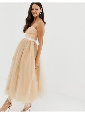 Dolly & Delicious bandeau full prom midaxi dress in tan