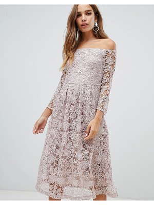 Dolly & Delicious bardot all over lace prom midi dress with bell sleeve in mauve