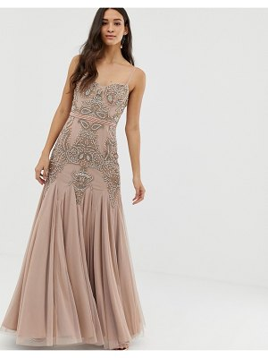 Dolly & Delicious cami embellished maxi dress with fishtail in mauve