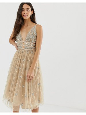 Dolly & Delicious embellished cage front mini prom dress in pink