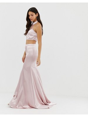 Dolly & Delicious full satin maxi skirt two-piece in pink