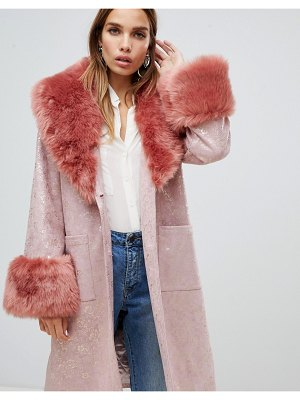 Dolly & Delicious oversized floral metallic coat with faux fur trims in pink