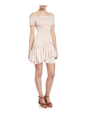 Donna Mizani Lolita Off-the-Shoulder Short-Sleeve Smocked Ruffle Mini Dress