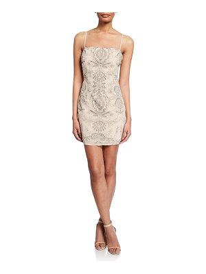 Donna Mizani Stella Printed Square-Neck Spaghetti-Strap Mini Dress