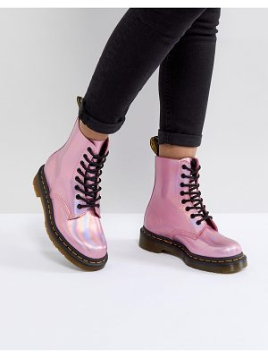 DR MARTENS Leather Holographic Pink Lace Up Boots