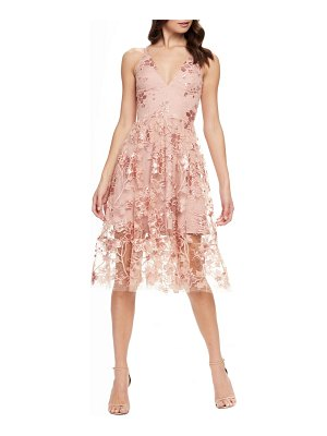 Dress the Population ally 3d floral mesh cocktail dress