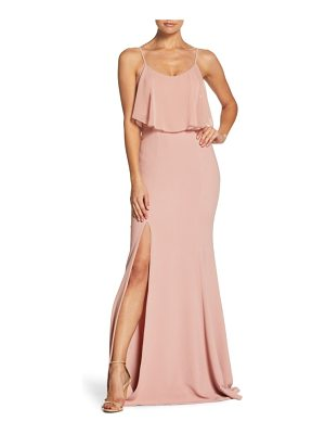 DRESS THE POPULATION Diana Cold Shoulder Side Slit Gown